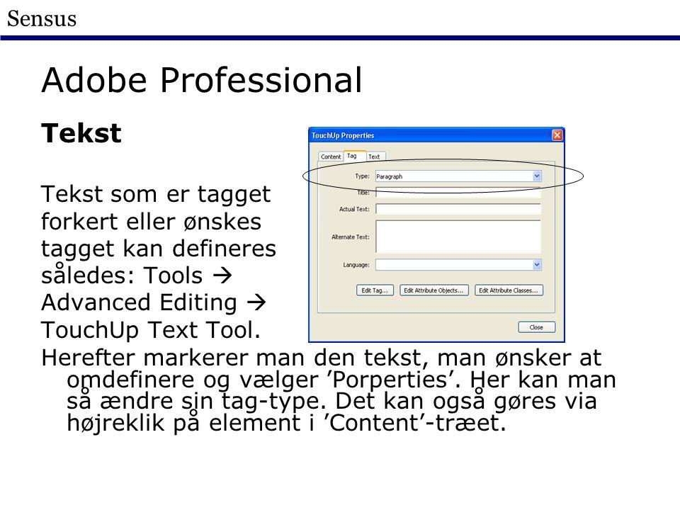 Sensus Adobe Professional Tekst Tekst som er tagget forkert eller ønskes tagget kan defineres således: Tools  Advanced Editing  TouchUp Text Tool.