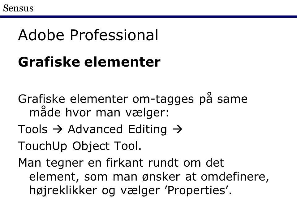 Sensus Adobe Professional Grafiske elementer Grafiske elementer om-tagges på same måde hvor man vælger: Tools  Advanced Editing  TouchUp Object Tool.