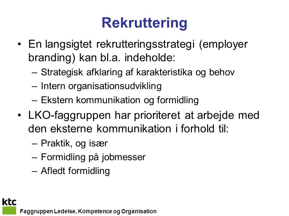 Faggruppen Ledelse, Kompetence og Organisation Rekruttering En langsigtet rekrutteringsstrategi (employer branding) kan bl.a.