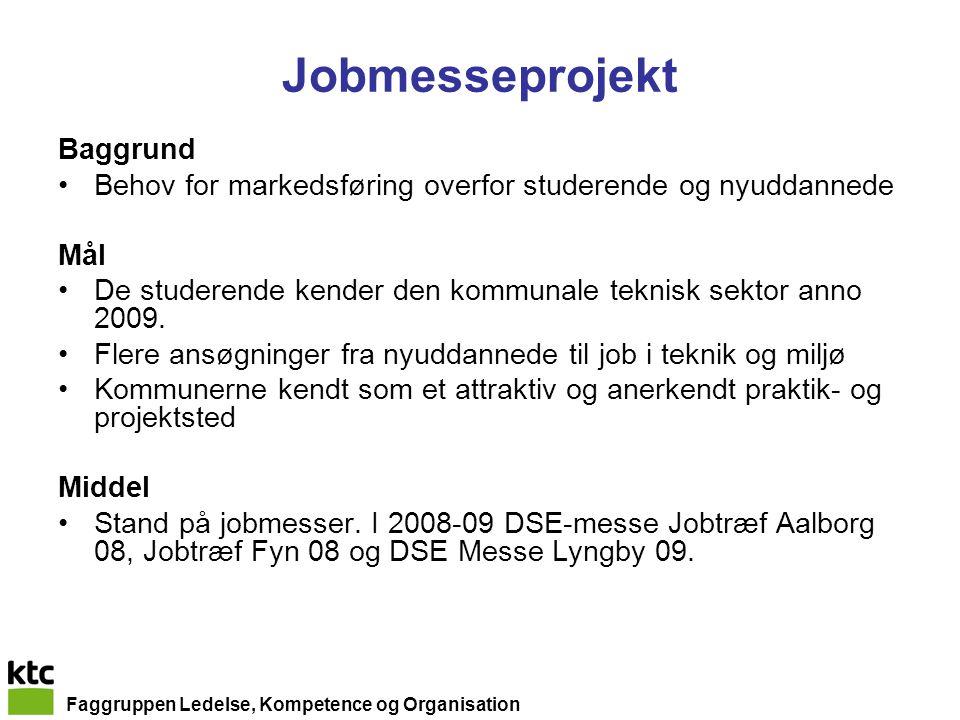 Faggruppen Ledelse, Kompetence og Organisation Jobmesseprojekt Baggrund Behov for markedsføring overfor studerende og nyuddannede Mål De studerende kender den kommunale teknisk sektor anno 2009.
