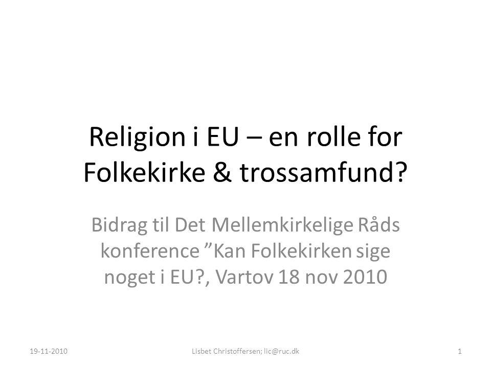 Religion i EU – en rolle for Folkekirke & trossamfund.