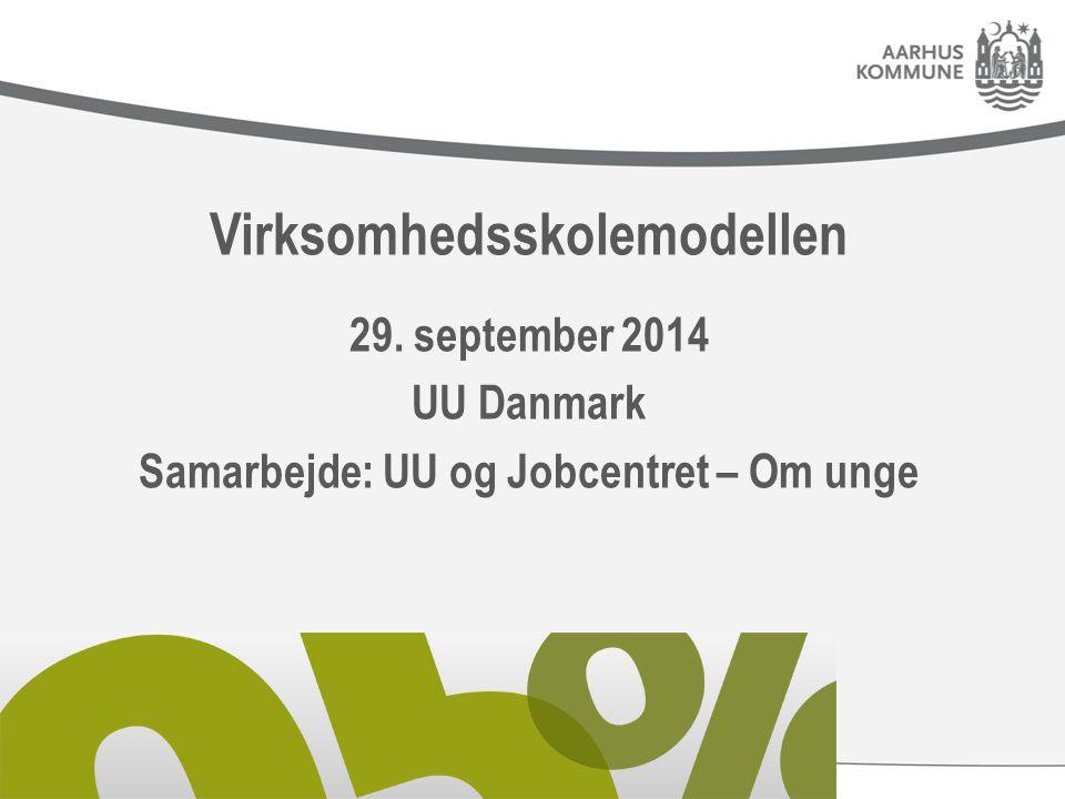 Virksomhedsskolemodellen 29. september 2014 UU Danmark Samarbejde: UU og Jobcentret – Om unge