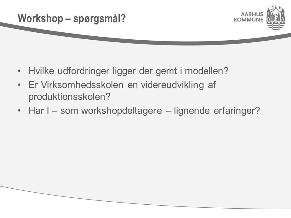 Workshop – spørgsmål. Hvilke udfordringer ligger der gemt i modellen.