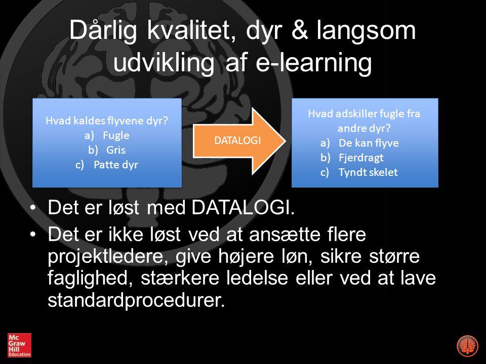 Dårlig kvalitet, dyr & langsom udvikling af e-learning Det er løst med DATALOGI.