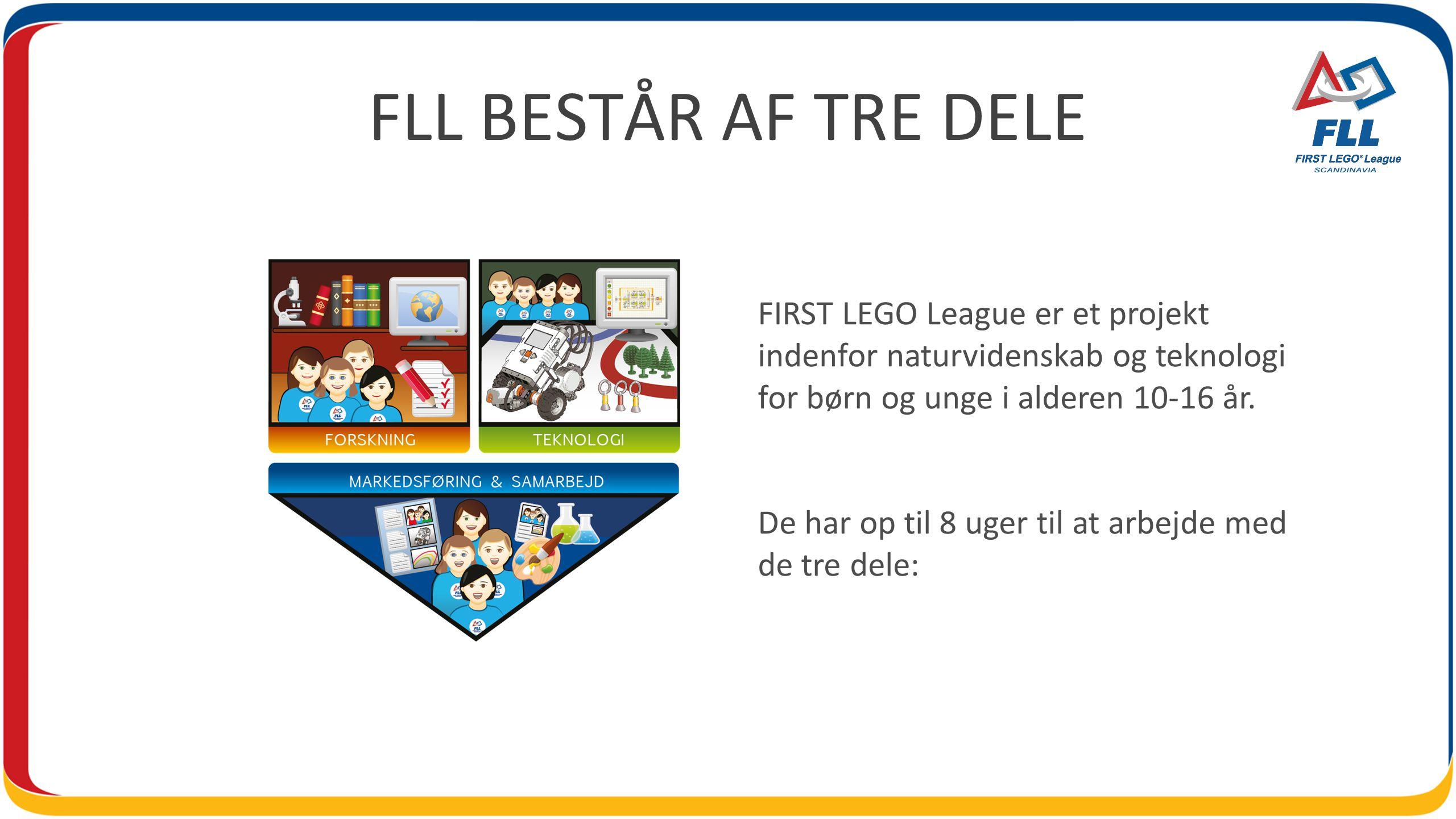 FLL BESTÅR AF TRE DELE FIRST LEGO League er et projekt indenfor naturvidenskab og teknologi for børn og unge i alderen 10-16 år.