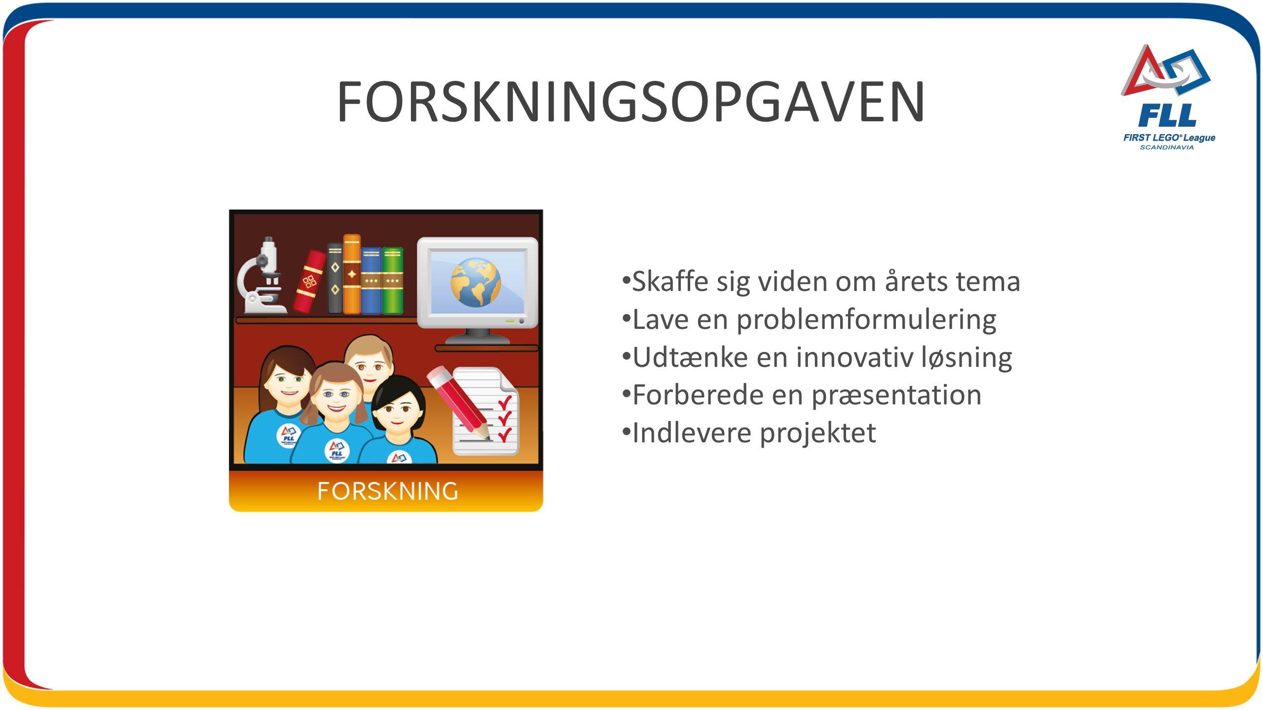 FORSKNINGSOPGAVEN Skaffe sig viden om årets tema Lave en problemformulering Udtænke en innovativ løsning Forberede en præsentation Indlevere projektet