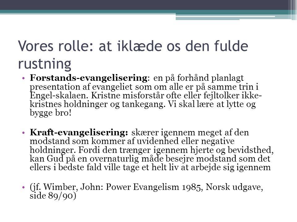 Vores rolle: at iklæde os den fulde rustning Forstands-evangelisering: en på forhånd planlagt presentation af evangeliet som om alle er på samme trin i Engel-skalaen.