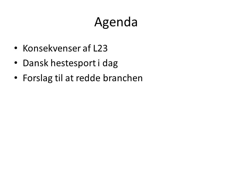 Agenda Konsekvenser af L23 Dansk hestesport i dag Forslag til at redde branchen