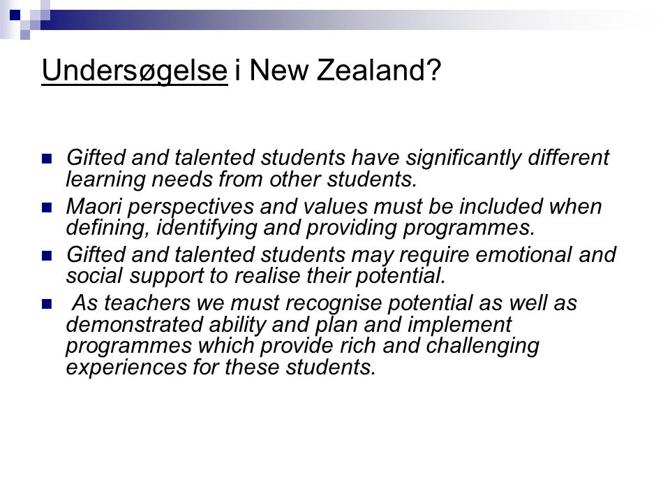 Undersøgelse i New Zealand.
