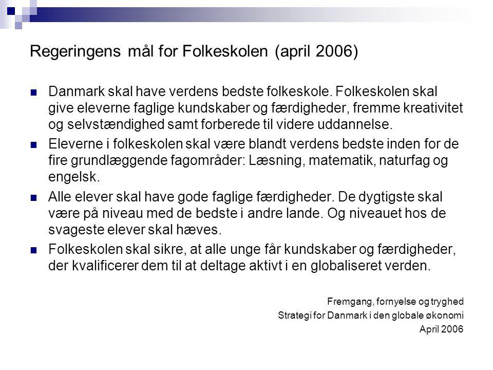Regeringens mål for Folkeskolen (april 2006) Danmark skal have verdens bedste folkeskole.