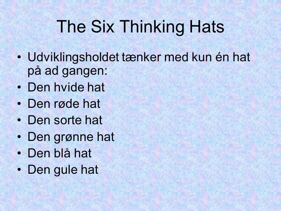 The Six Thinking Hats Udviklingsholdet tænker med kun én hat på ad gangen: Den hvide hat Den røde hat Den sorte hat Den grønne hat Den blå hat Den gule hat