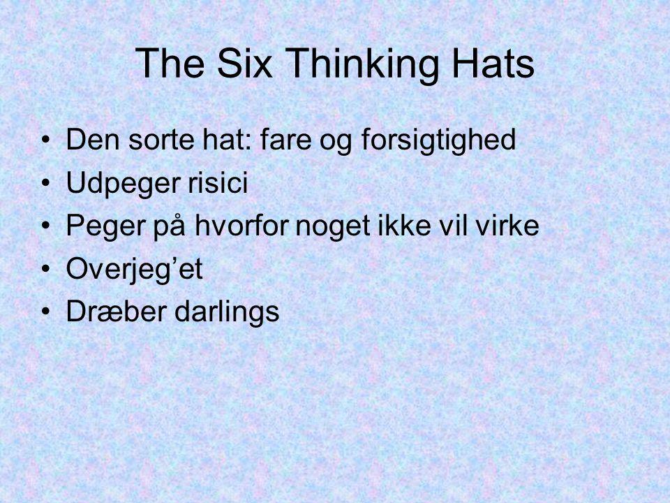 The Six Thinking Hats Den sorte hat: fare og forsigtighed Udpeger risici Peger på hvorfor noget ikke vil virke Overjeg'et Dræber darlings