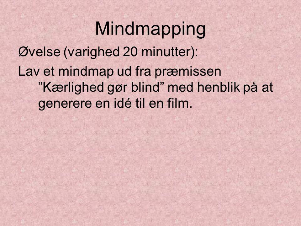 Mindmapping Øvelse (varighed 20 minutter): Lav et mindmap ud fra præmissen Kærlighed gør blind med henblik på at generere en idé til en film.