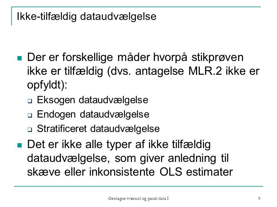 Gentagne tværsnit og panel data I 9 Ikke-tilfældig dataudvælgelse Der er forskellige måder hvorpå stikprøven ikke er tilfældig (dvs.