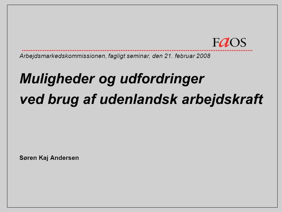 Muligheder og udfordringer ved brug af udenlandsk arbejdskraft Søren Kaj Andersen Arbejdsmarkedskommissionen, fagligt seminar, den 21.