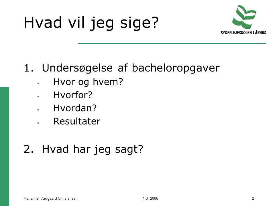 1.3. 2006Marianne Vadgaard Christensen2 Hvad vil jeg sige.