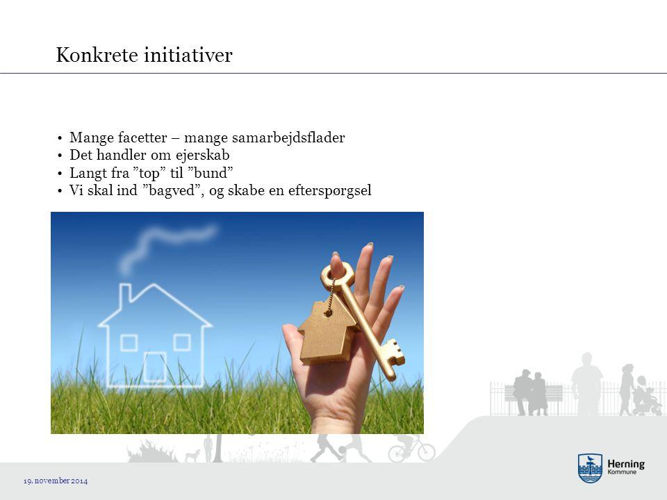 Konkrete initiativer Mange facetter – mange samarbejdsflader Det handler om ejerskab Langt fra top til bund Vi skal ind bagved , og skabe en efterspørgsel 19.