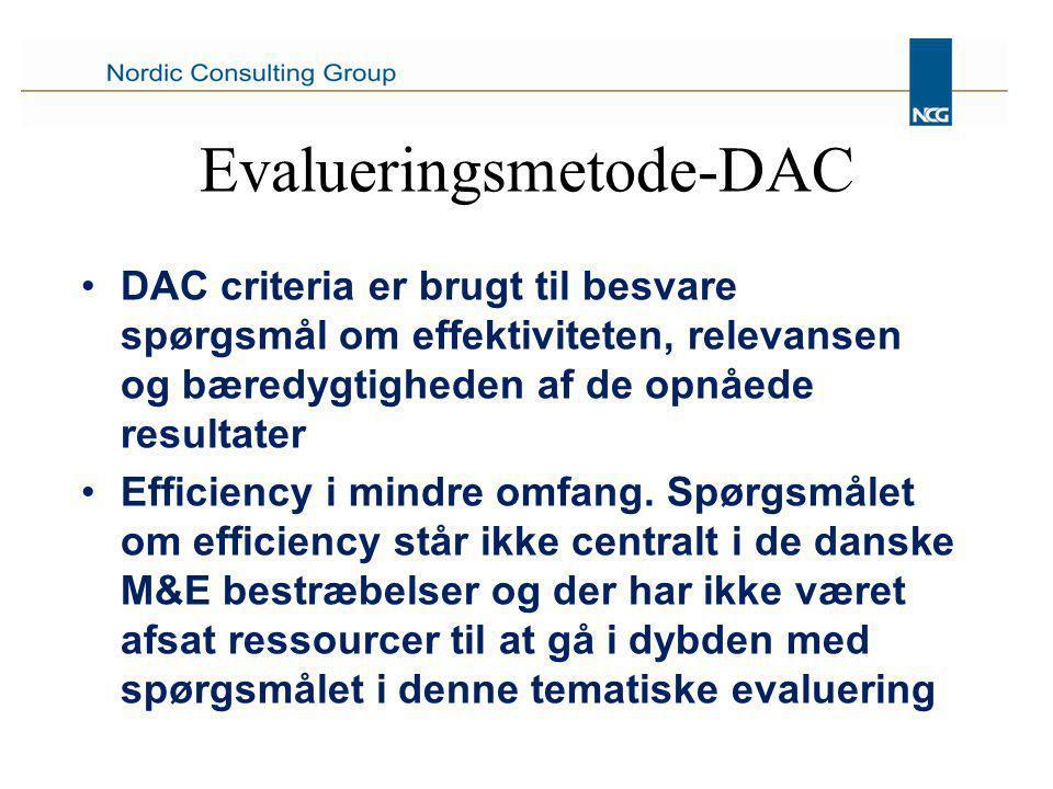 Evalueringsmetode-DAC DAC criteria er brugt til besvare spørgsmål om effektiviteten, relevansen og bæredygtigheden af de opnåede resultater Efficiency i mindre omfang.