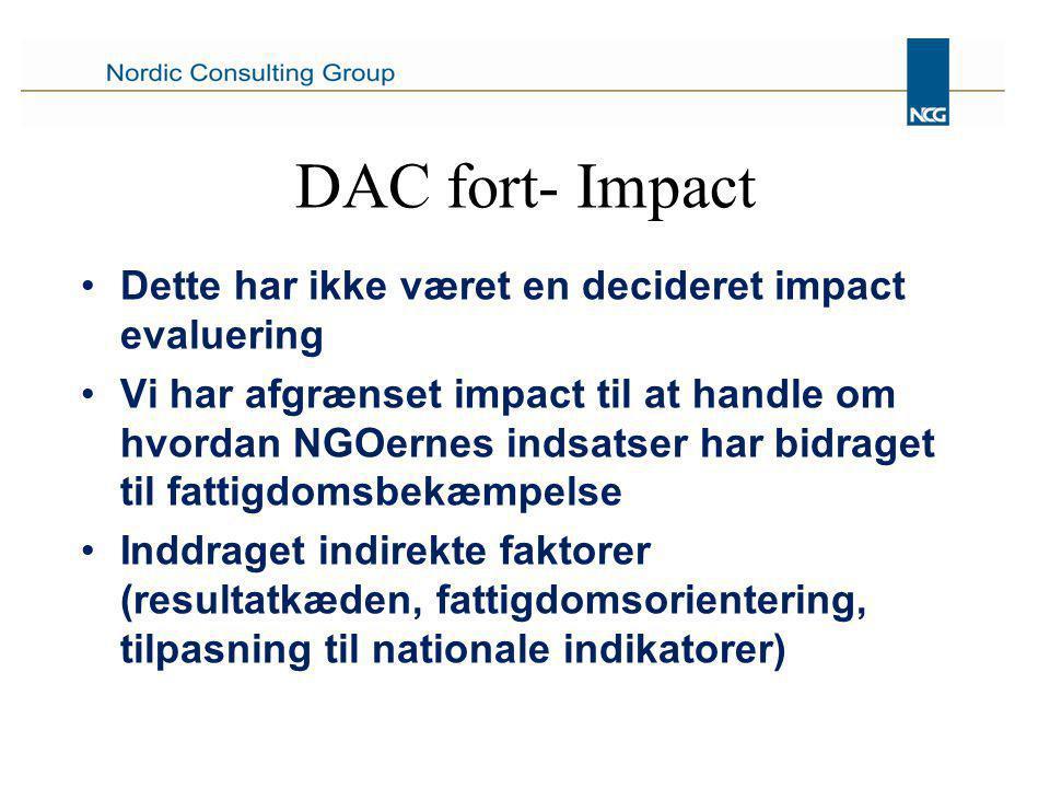DAC fort- Impact Dette har ikke været en decideret impact evaluering Vi har afgrænset impact til at handle om hvordan NGOernes indsatser har bidraget til fattigdomsbekæmpelse Inddraget indirekte faktorer (resultatkæden, fattigdomsorientering, tilpasning til nationale indikatorer)