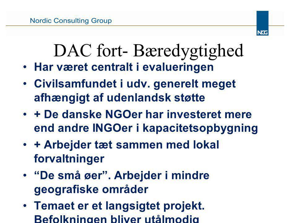 DAC fort- Bæredygtighed Har været centralt i evalueringen Civilsamfundet i udv.