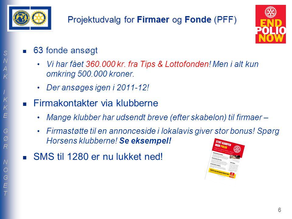 Projektudvalg for Firmaer og Fonde (PFF) 63 fonde ansøgt Vi har fået 360.000 kr.