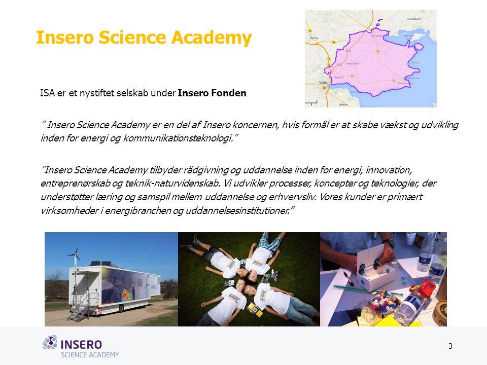 Tekstslide med bullets Brug 'Forøge/Formindske indryk'-knappen for at skifte mellem de forskellige niveauer Insero Science Academy ISA er et nystiftet selskab under Insero Fonden Insero Science Academy er en del af Insero koncernen, hvis formål er at skabe vækst og udvikling inden for energi og kommunikationsteknologi. Insero Science Academy tilbyder rådgivning og uddannelse inden for energi, innovation, entreprenørskab og teknik-naturvidenskab.