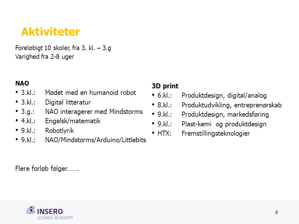 Tekstslide med bullets Brug 'Forøge/Formindske indryk'-knappen for at skifte mellem de forskellige niveauer Aktiviteter Foreløbigt 10 skoler, fra 3.