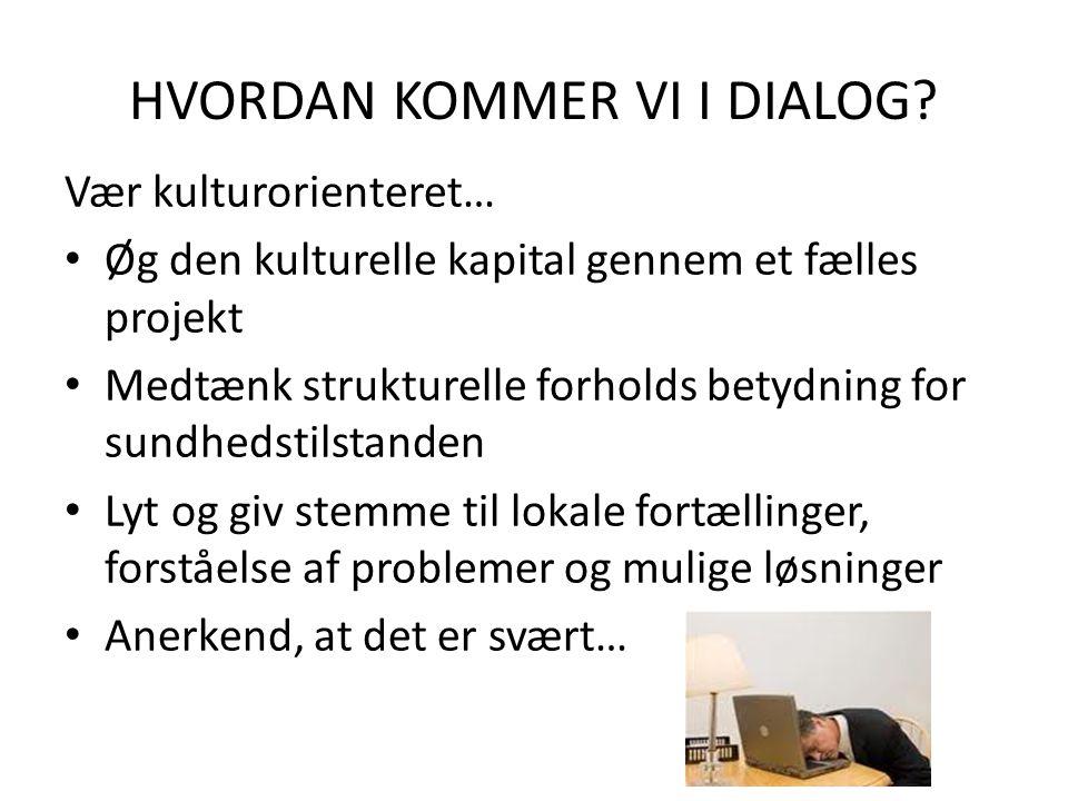 HVORDAN KOMMER VI I DIALOG.