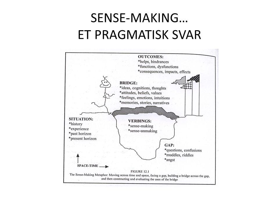 SENSE-MAKING… ET PRAGMATISK SVAR