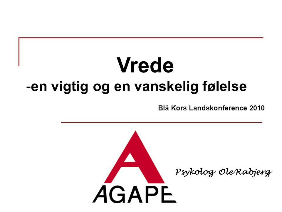 Vrede -en vigtig og en vanskelig følelse Blå Kors Landskonference 2010 Psykolog Ole Rabjerg