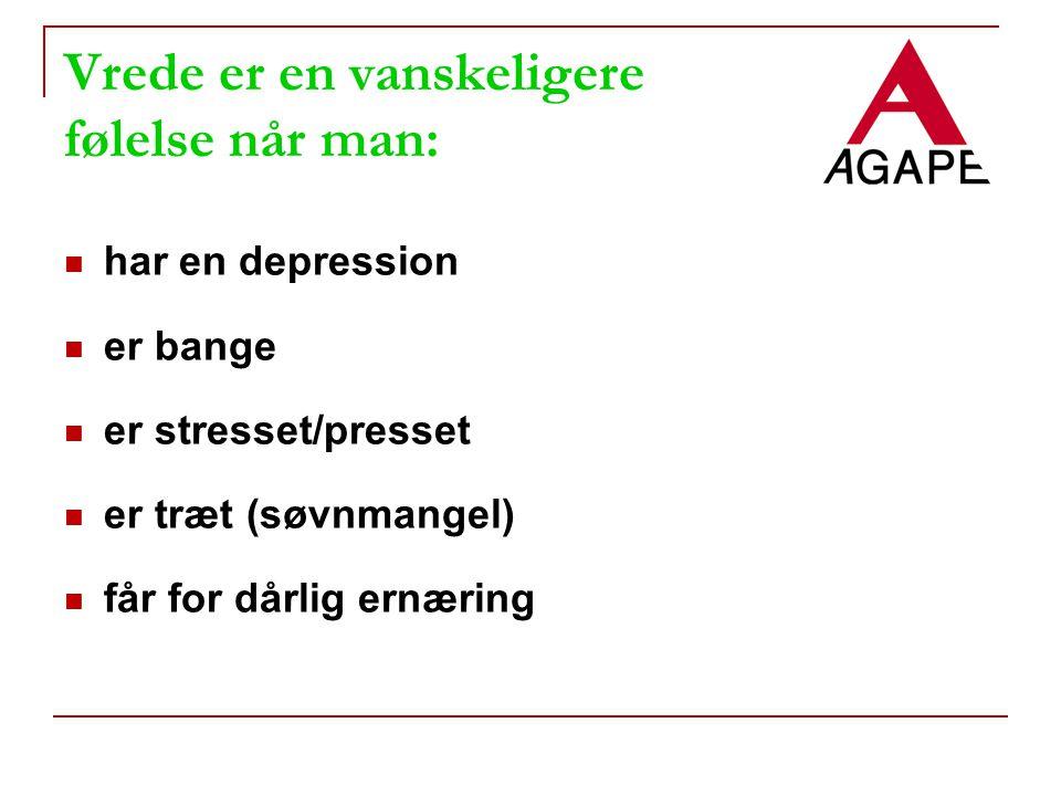Vrede er en vanskeligere følelse når man: har en depression er bange er stresset/presset er træt (søvnmangel) får for dårlig ernæring