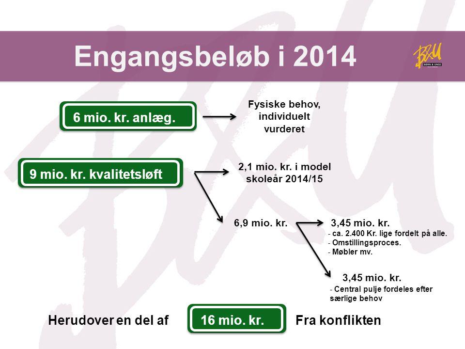 Engangsbeløb i 2014 Fysiske behov, individuelt vurderet 2,1 mio.