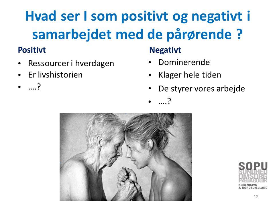 Hvad ser I som positivt og negativti samarbejdet med Positivt de pårørende .