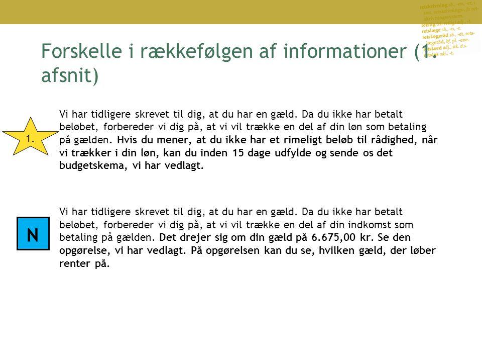 Forskelle i rækkefølgen af informationer (1.