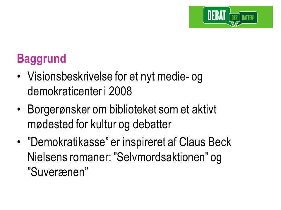 Baggrund Visionsbeskrivelse for et nyt medie- og demokraticenter i 2008 Borgerønsker om biblioteket som et aktivt mødested for kultur og debatter Demokratikasse er inspireret af Claus Beck Nielsens romaner: Selvmordsaktionen og Suverænen
