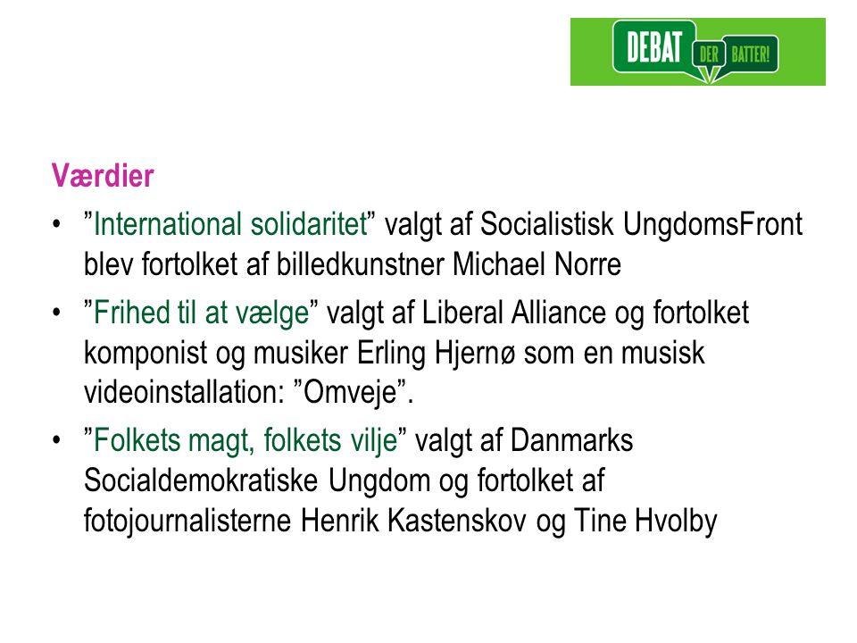 Værdier International solidaritet valgt af Socialistisk UngdomsFront blev fortolket af billedkunstner Michael Norre Frihed til at vælge valgt af Liberal Alliance og fortolket komponist og musiker Erling Hjernø som en musisk videoinstallation: Omveje .