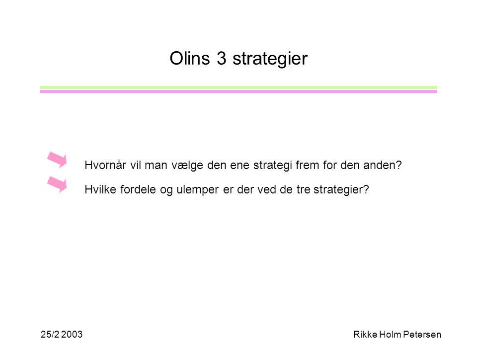 25/2 2003Rikke Holm Petersen Olins 3 strategier Hvornår vil man vælge den ene strategi frem for den anden.