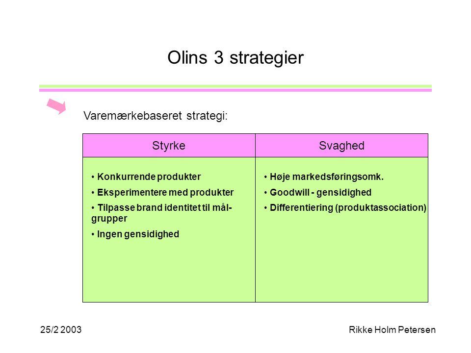 25/2 2003Rikke Holm Petersen Olins 3 strategier Varemærkebaseret strategi: Styrke Konkurrende produkter Eksperimentere med produkter Tilpasse brand identitet til mål- grupper Ingen gensidighed Svaghed Høje markedsføringsomk.