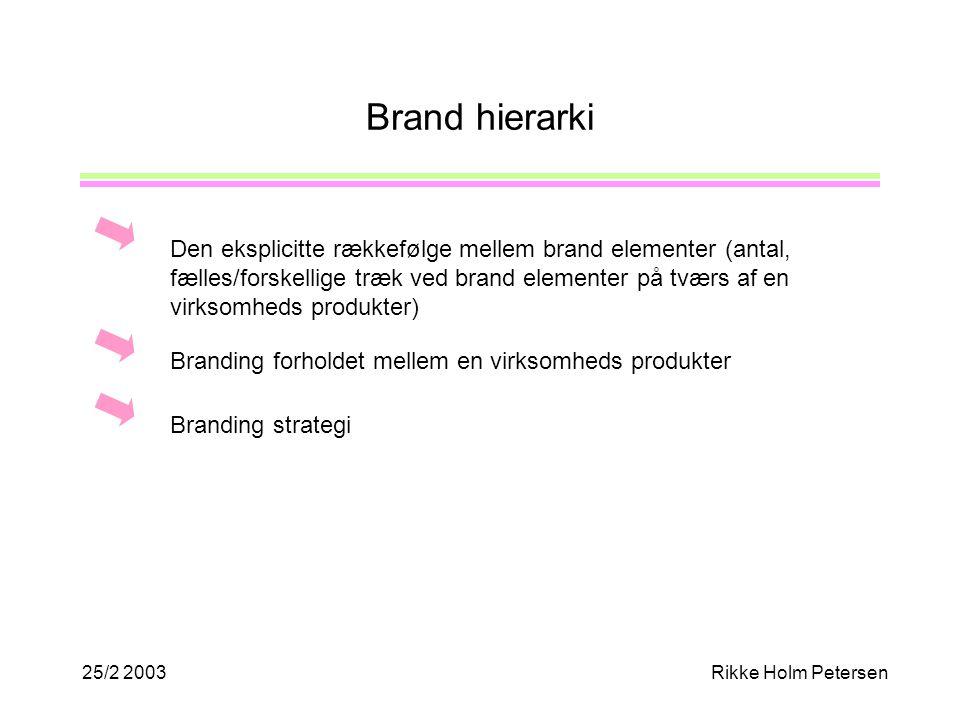 25/2 2003Rikke Holm Petersen Brand hierarki Den eksplicitte rækkefølge mellem brand elementer (antal, fælles/forskellige træk ved brand elementer på tværs af en virksomheds produkter) Branding strategi Branding forholdet mellem en virksomheds produkter
