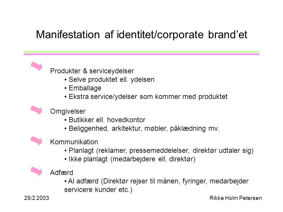 25/2 2003Rikke Holm Petersen Manifestation af identitet/corporate brand'et Produkter & serviceydelser Selve produktet ell.