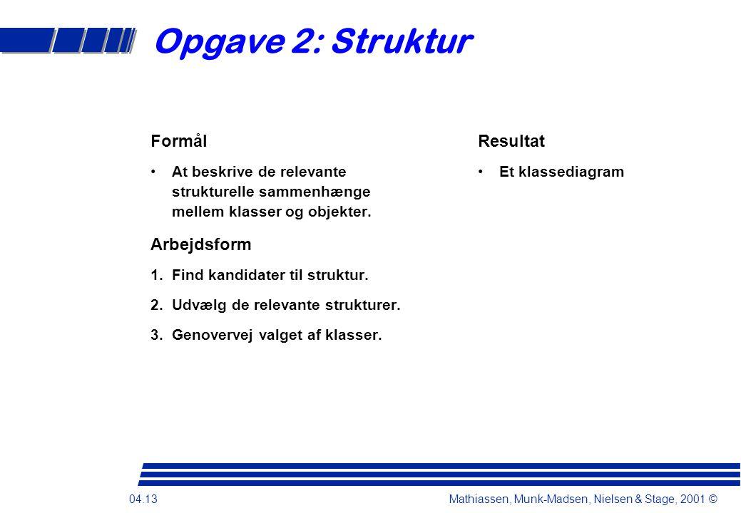 04.13 Mathiassen, Munk-Madsen, Nielsen & Stage, 2001 © Opgave 2: Struktur Formål At beskrive de relevante strukturelle sammenhænge mellem klasser og objekter.