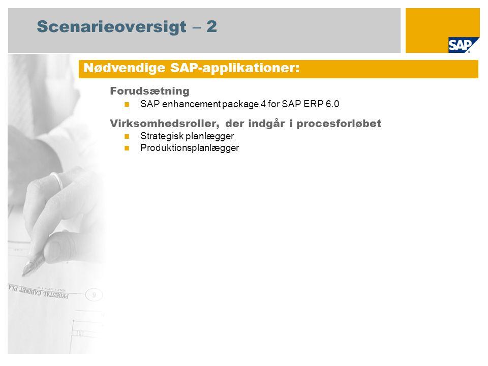 Scenarieoversigt – 2 Forudsætning SAP enhancement package 4 for SAP ERP 6.0 Virksomhedsroller, der indgår i procesforløbet Strategisk planlægger Produktionsplanlægger Nødvendige SAP-applikationer: