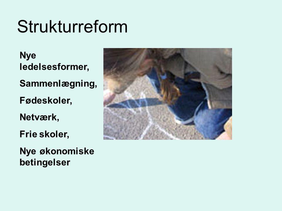 Strukturreform Nye ledelsesformer, Sammenlægning, Fødeskoler, Netværk, Frie skoler, Nye økonomiske betingelser