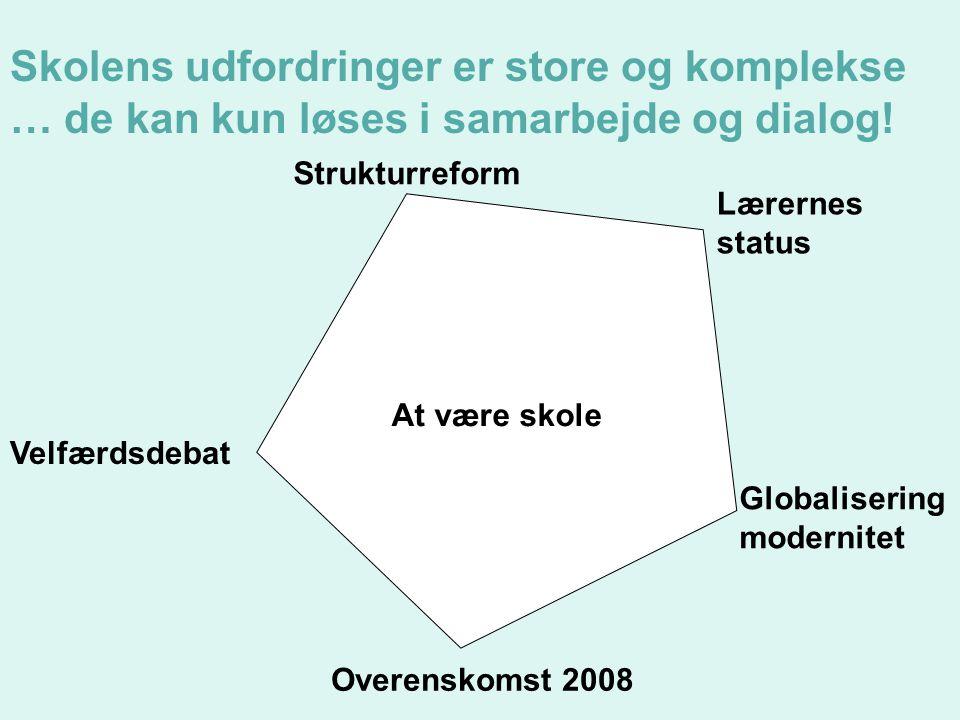 At være skole Velfærdsdebat Strukturreform Lærernes status Globalisering modernitet Overenskomst 2008 Skolens udfordringer er store og komplekse … de kan kun løses i samarbejde og dialog!