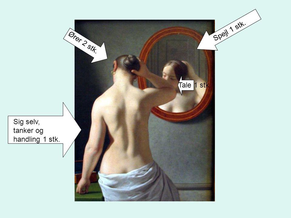 Ører 2 stk. Spejl 1 stk. Sig selv, tanker og handling 1 stk. Tale 1 stk.