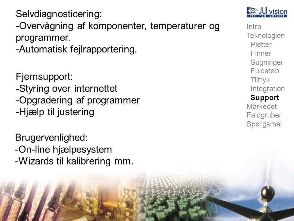 Intro Teknologien Pletter Finner Sugninger Fuldstøb Tiltryk Integration Support Markedet Faldgruber Spørgsmål Selvdiagnosticering: -Overvågning af komponenter, temperaturer og programmer.