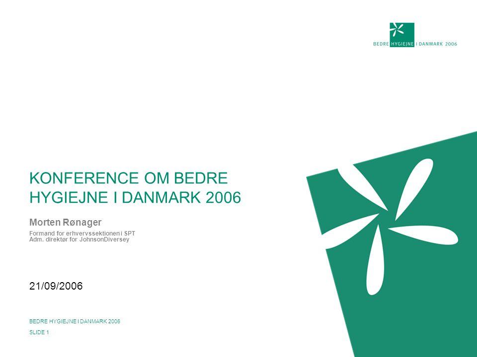 21/09/2006 BEDRE HYGIEJNE I DANMARK 2006 SLIDE 1 KONFERENCE OM BEDRE HYGIEJNE I DANMARK 2006 Morten Rønager Formand for erhvervssektionen i SPT Adm.