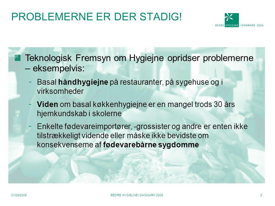 21/09/2006BEDRE HYGIEJNE I DANMARK 20062 PROBLEMERNE ER DER STADIG.