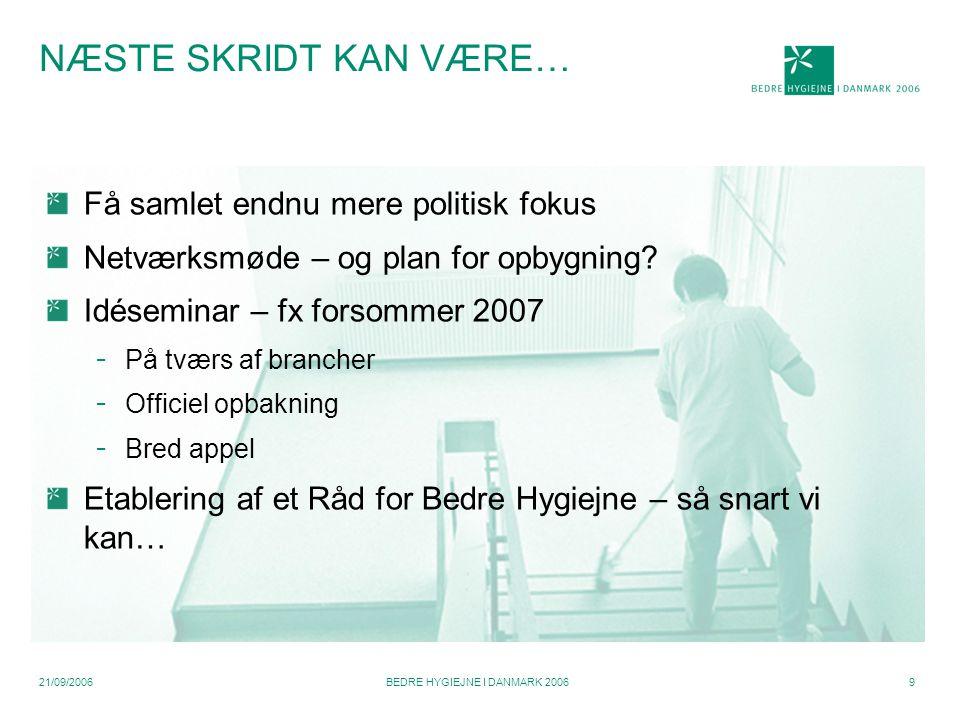 21/09/2006BEDRE HYGIEJNE I DANMARK 20069 NÆSTE SKRIDT KAN VÆRE… Få samlet endnu mere politisk fokus Netværksmøde – og plan for opbygning.