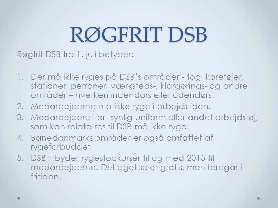 RØGFRIT DSB Røgfrit DSB fra 1.